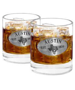 Two Austin Whiskey Glasses