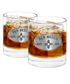 Two New Mexico Whiskey Glasses