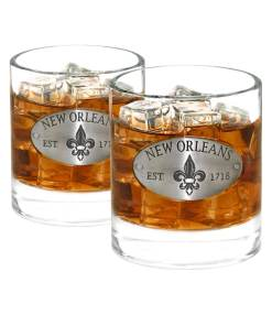 Two New Orleans Whiskey Glasses