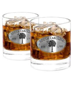 Two South Carolina Whiskey Glasses