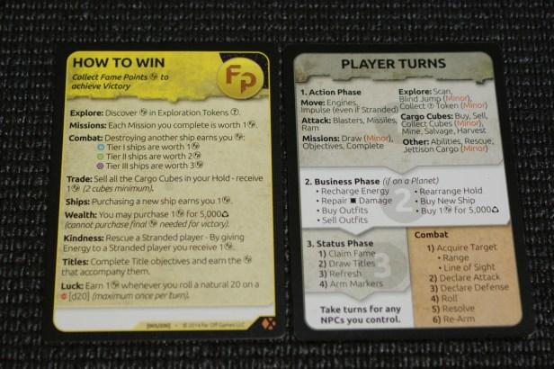 Spelers krijgen een handig reference overzicht met acties en  manieren waarop je overwinningspunten kan scoren.