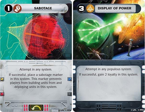 Twee voorbeeld missie kaarten. De linker is van de Rebels (en is een start-kaart, zie de rode tekens en het pijltje). De rechter kaart is voor de Imperials en is eenmalig bruikbaar.
