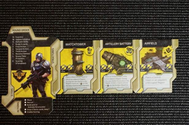 De kartonnen componenten voor de human. Links de refsheet en daarnaast de gebouwen. Er zijn 3 gebouwen die de Human kan bouwen en activeren. Er worden tokens (rechts bovenin de tegels) gelegd.