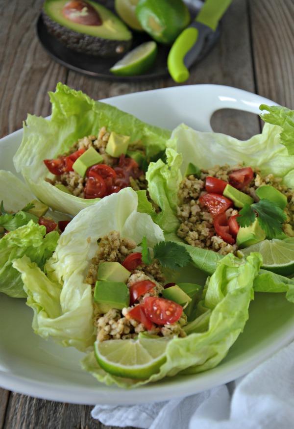 advocare healthy recipes - cilantro lime turkey taco lettuce wraps from mountain mama cooks