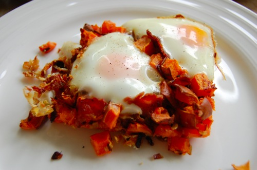 healthy recipes - sweet potato hash and eggs