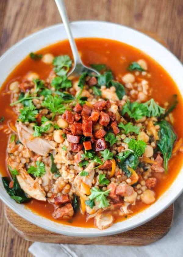 couscous soup recipe - chorizo and couscous soup