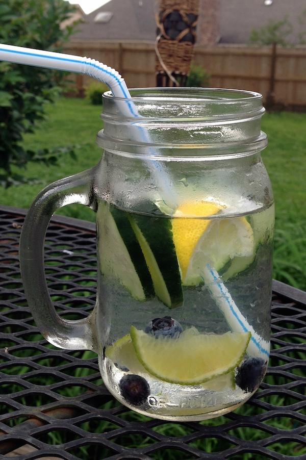 cucumber lime blueberries detox water