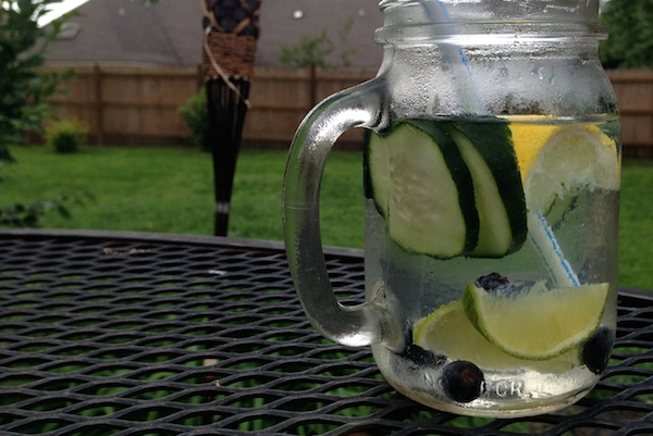 cucumber lime blueberry infused detox water