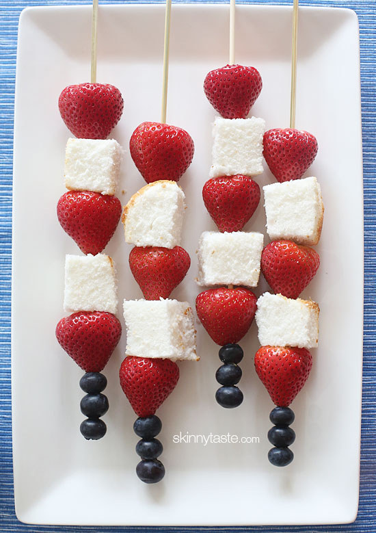 fourth of july recipes - fruit and cake skewers