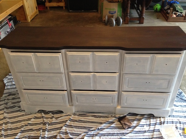 DIY White Painted Dresser last steps
