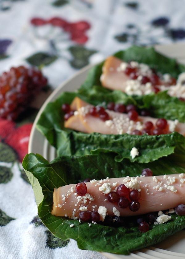 champagne grapes turkey roll ups lunch idea