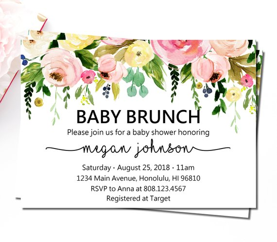 Baby Shower Brunch Invitation Spring Summer Garden Floral Boho Baby
