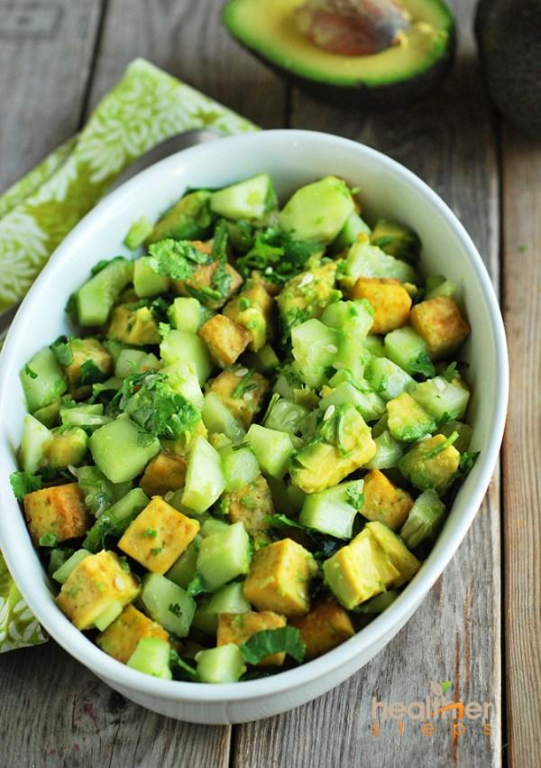 Low carb recipe Avocado Tofu Salad by food blogger Healthier Steps