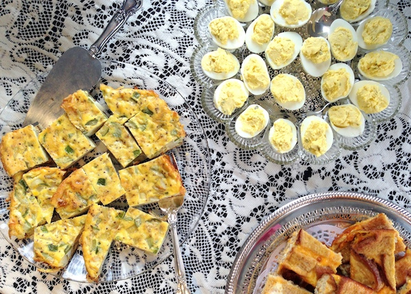 baby shower food - quiche and deviled eggs - amerrylife.com