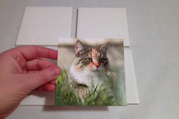 diy coaster project step add the photo to mod podge coaster