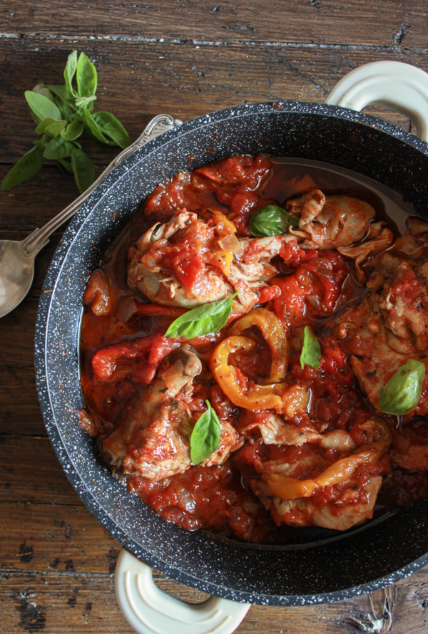 low carb recipe idea Italian Chicken and Tomato Skillet with Roasted Peppers by food blogger An Italian in My Kitchen