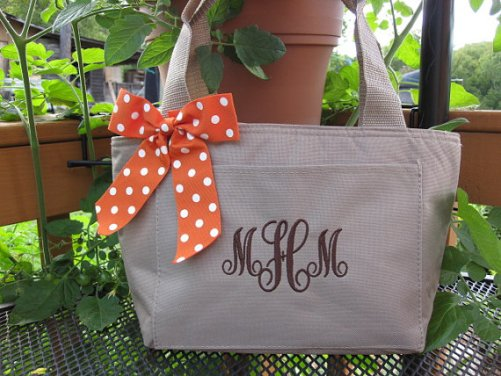Monogrammed Khaki Insulated Lunch Bag Box Cooler Personalized