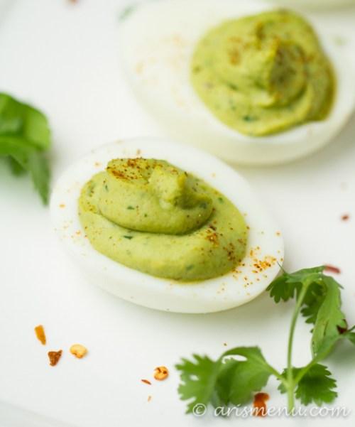 healthy advocare snack ideas - guacamole deviled eggs