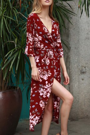 Dressfo plunge neck floral wrap dress