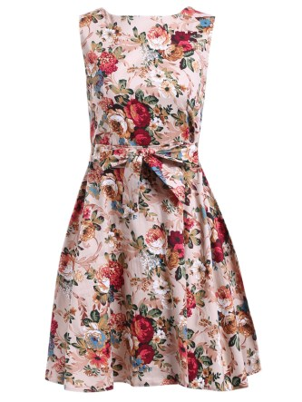 Dressfo vintage floral knee length dress