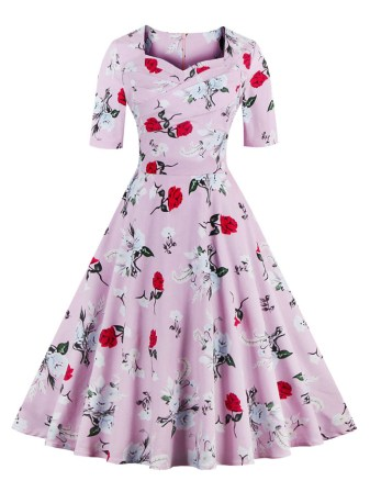 Dressfo vintage sweetheart neckline swing dress
