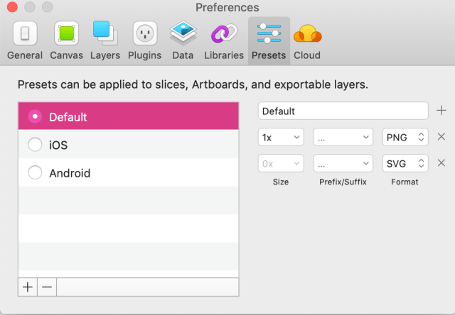 Screenshot of Export Preset Preferences in Sketch for Sketch Power Users