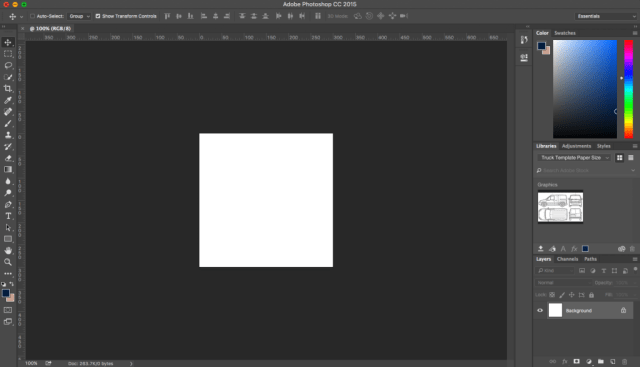 Screenshot of new photoshop file