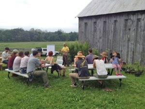 Photo of several people sitting outside at picnic tables listening to a lecturer