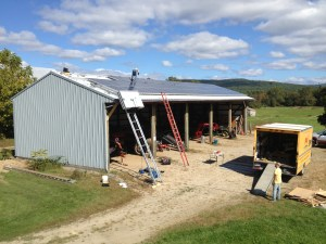 Solar panels installed on barn