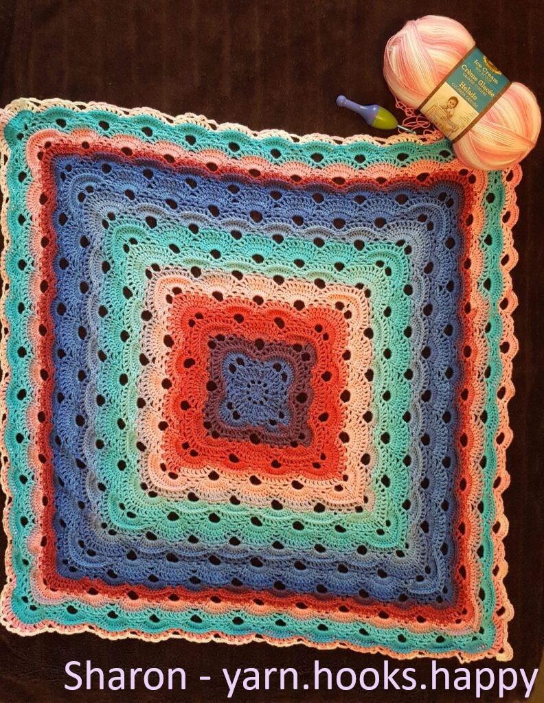 Textured Virus Blanket by Sharon @ Yarn.Hooks.Happy