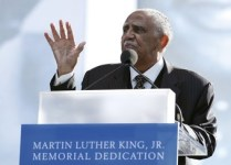 Church Minister Joe Lowery speaks at the Martin Luther King, Jr. memorial dedication on the National Mall in Washington