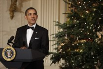 President Barack Obama delivers remarks at the Kennedy Center Honors Reception