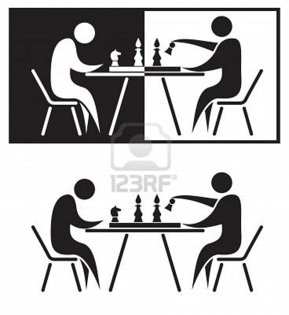 Chess Players Black And White Illustration