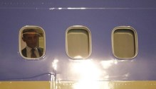 U.S. President Barack Obama pictured through a window of Air Force One upon his arrival in Las Vegas