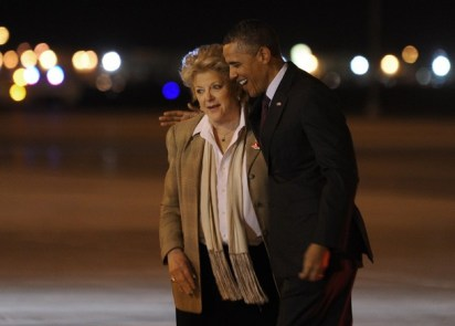 US President Barack Obama is greeted by