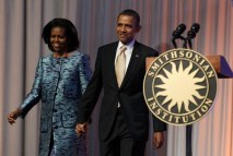 U.S. President Obama and first lady Michelle attend the groundbreaking ceremony at the construction site of the Smithsonian National Museum of African American History and Culture in Washington
