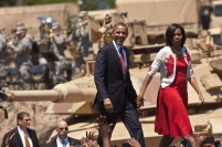 President And Mrs Obama Visit Troops At Ft Stewart Military Base
