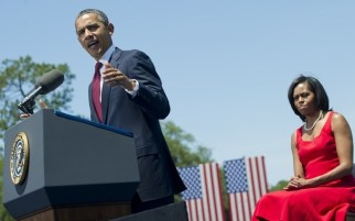 US President Barack Obama speaks, alongs
