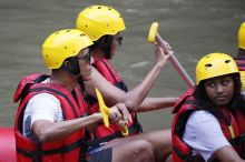 Mandatory Credit: Photo by MADE NAGI/EPA/REX/Shutterstock (8880014d) Barack Obama Former US president Barack Obama on holiday in Bali, Indonesia, Badung - 26 Jun 2017 Former US president Barack Obama (L) and his family raft at the Ayung River during a family holiday in Bali, Indonesia, 26 June 2017. Obama is in Bali as part of his ten-day family holiday in Indonesia.