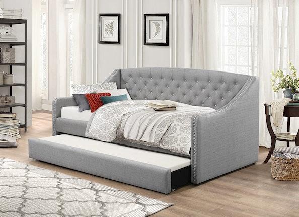 lit de jour simple avec lit gigogne gris