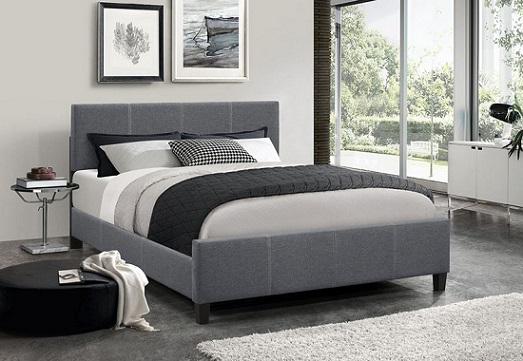 lit double gris fonce avec tete de lit reglable