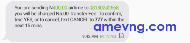How to transfer airtime on mtn by sms confirmation message
