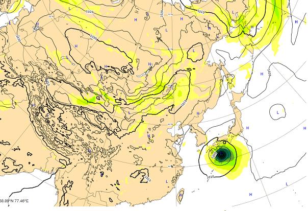 台風18号10月1日の進路