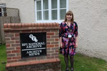 Archive Trainee (Alicia Kirkbride) on a collections management placement at BFI National Archive