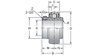 Stainless Steel Set Screw Locking Bearing Insert, MUC200 Series-2