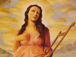 Santa Cecilia. Oil on canvas by Salvatore Russo located in Grammichele