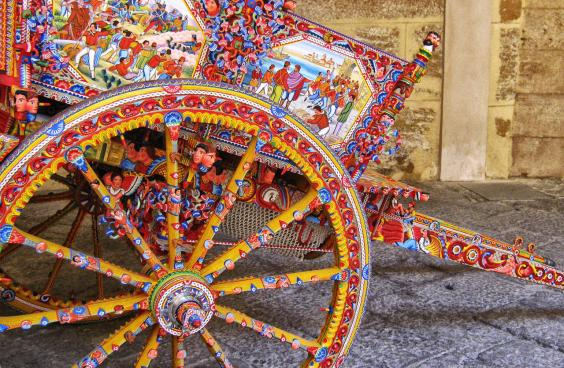 Carved and painted wooden Sicilian cart