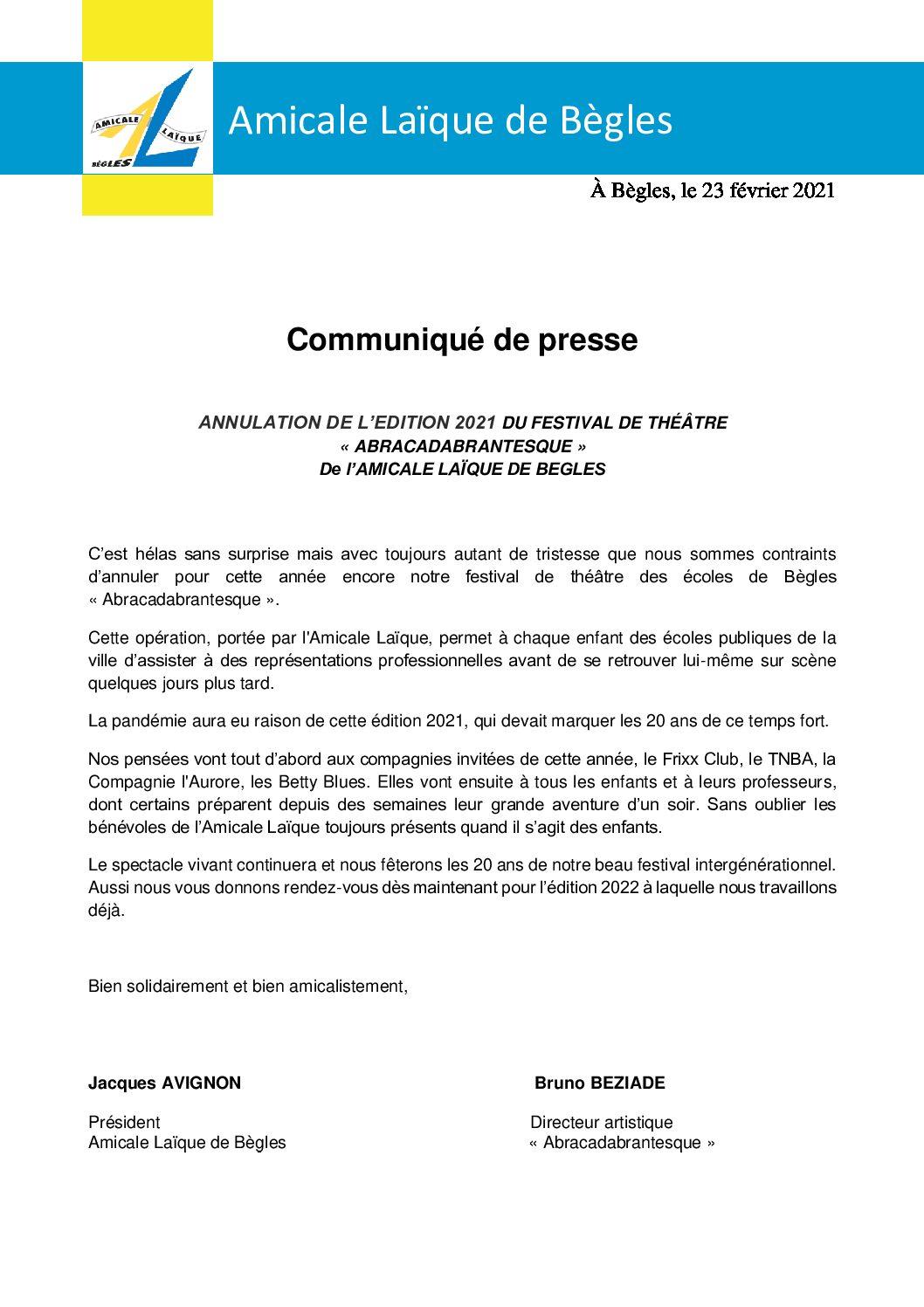 Communiqué de Presse – Annulation du Festival Abracadabrantesque