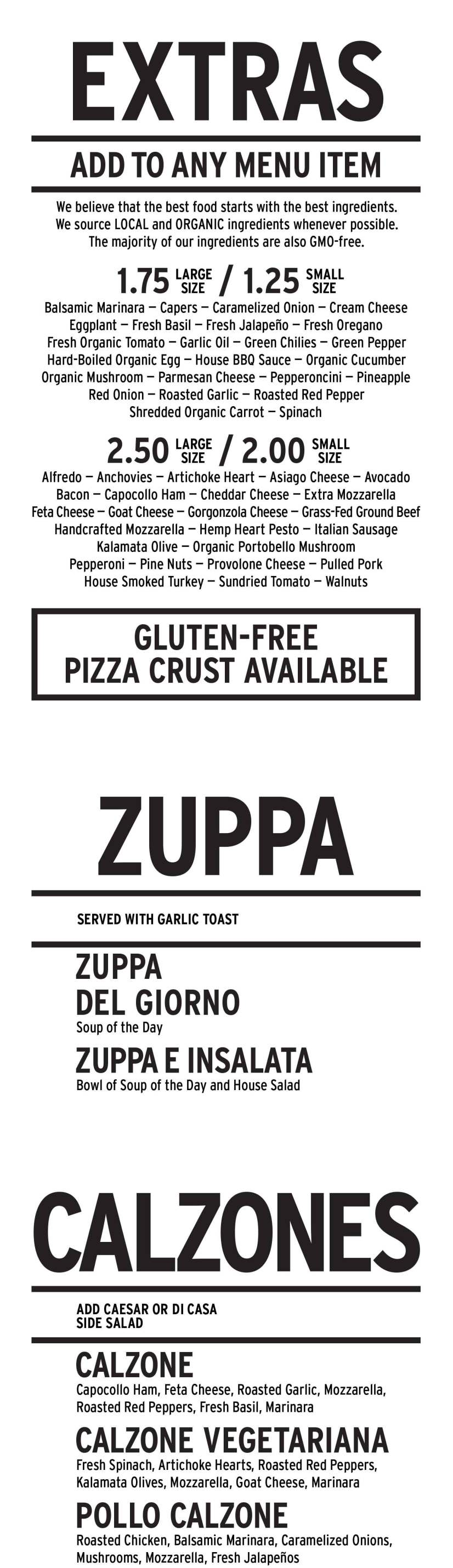 Amicas Wood Fired Pizza Menu