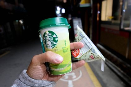 Starbucks drink and kimbap from the convenience store